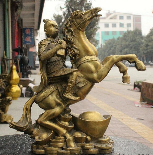 Chine Laiton Yuanbao Singe Roi Sun Wu Kong Main Prière drapeau Tour Statue de Cheval