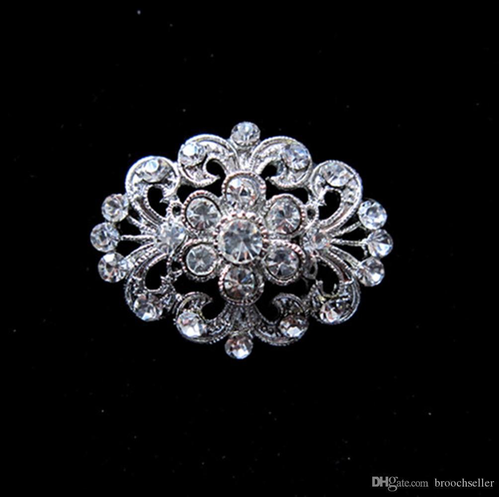 Bonita flor claro cristal Rhinestone plata tono broche Pin