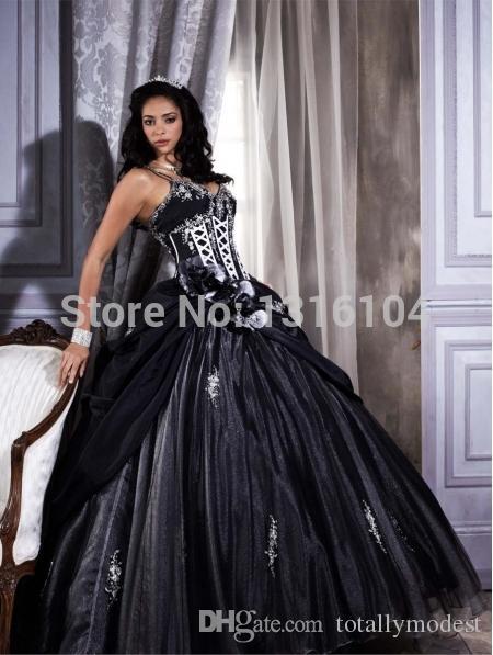 Abiti da sposa gotica in bianco e nero con cinghie con scollo a V in rilievo appliques pizzo principessa non bianca colorate abiti da sposa colorati su misura
