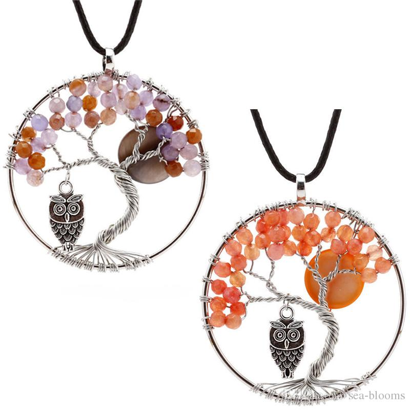 Tree of Life Tumbled Stone Pendant 7 Chakra Jewelry Necklace Wire Wrapped Agate Bead Crystal Owl Pendant Trend Jewelry Accessory C184S