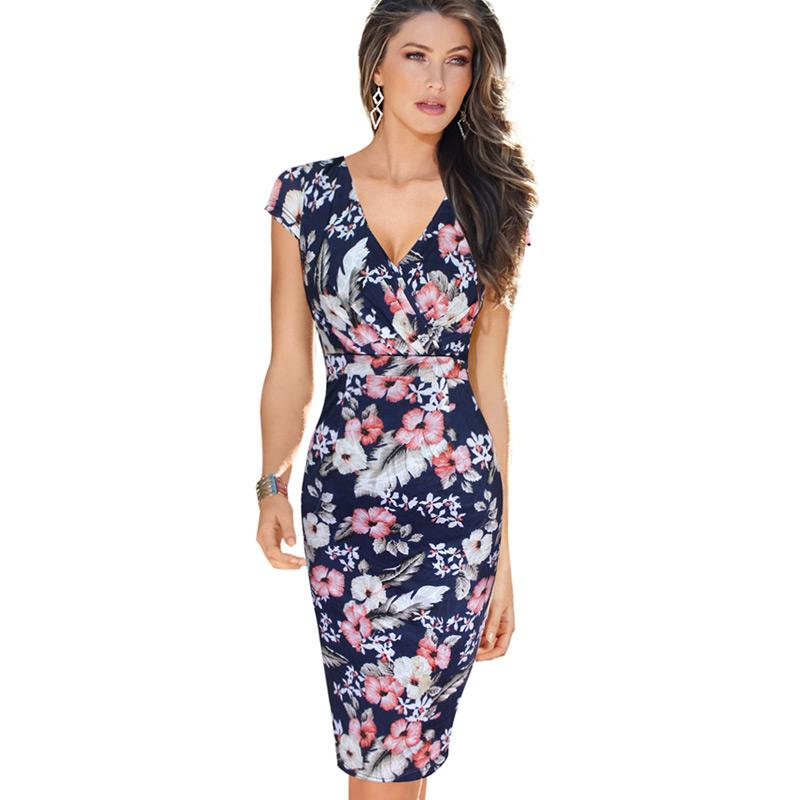 New Fashion Womens Sexy Deep V Ruched Floral Print Lace Cap Sleeve Tunic Slim High Waist Casual Party Club Fitted Sheath Dress