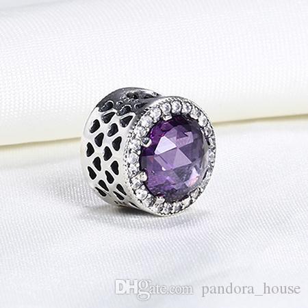 Authentique Réel 925 Sterling Argent Cristal Cubique Zircone Européen Charmes Perle Fit Pandora Chaîne Bracelet DIY Mode Bijoux