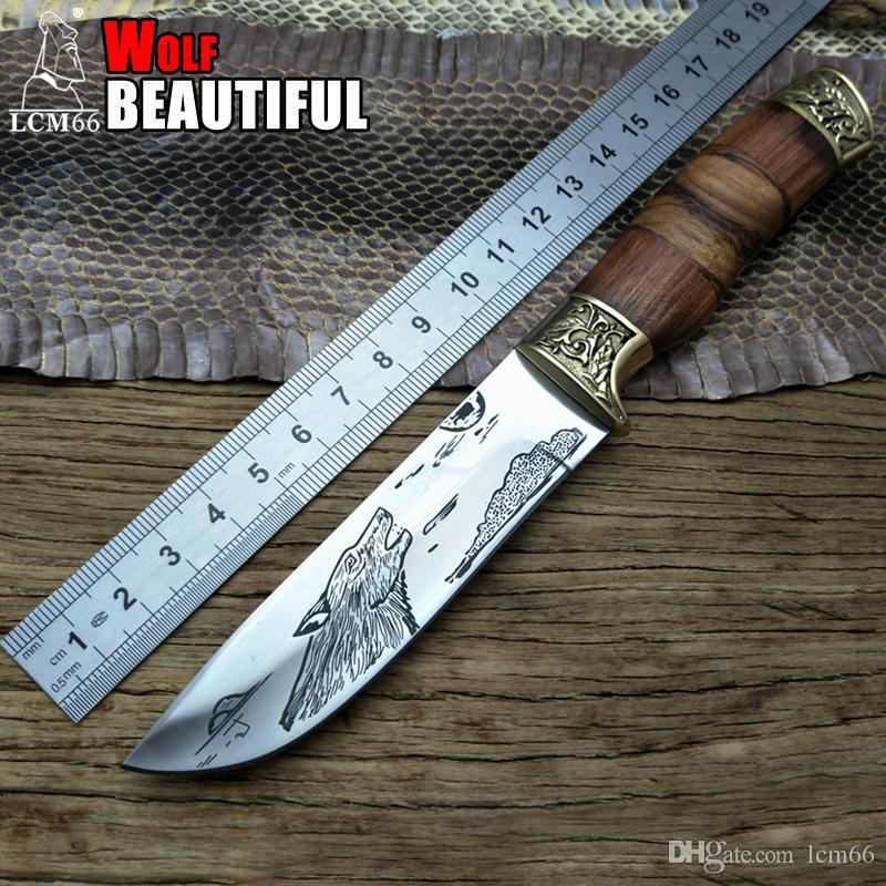 LCM66 늑대 전술 전술 소형 고정 나이프, 구리 헤드 + 단단한 손잡이 서바이벌 나이프, 캠핑 구조용 나이프, 휴대용 나이프