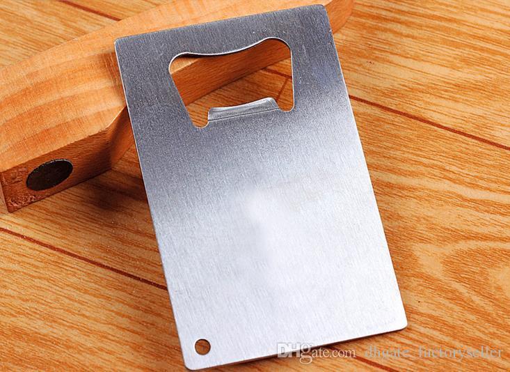 100pcs / lot DHL FedEx FedEx Spedizione gratuita portafoglio in acciaio inox cartolina di credito apribottiglie biglietto da visita aperitori di birra