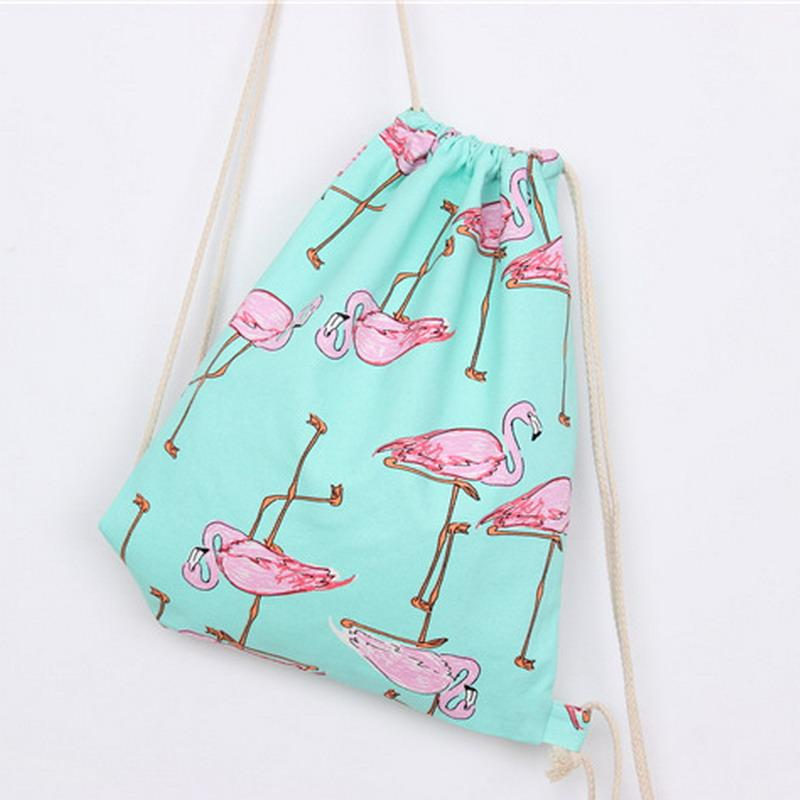 2017 Cartoon Animal Drawstring Bag Fresh Girl Women Canvas ...