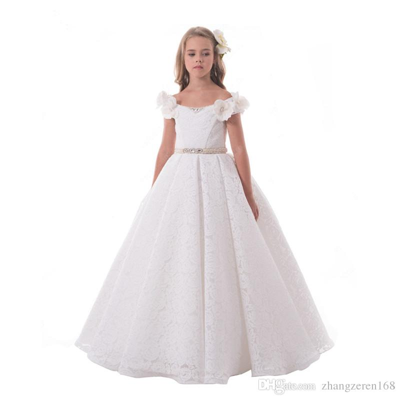 Pretty Lace Flower Girl Dresses Scoop Neck Floor Length 2017 High Quality Beaded Sash Kids First Communion Graduation Gowns Hot