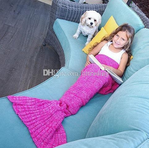Großhandel Baby Häkelarbeit Meerjungfrau Schwanz Decken Handgemachte ...