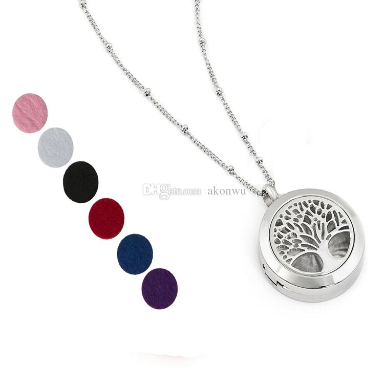 """Aromatherapy Essential Oil Diffuser Necklace Jewelry Hypoallergenic 316L Surgical Grade Stainless Steel, 22"""" Chain 6 Washable Pads and Charm"""