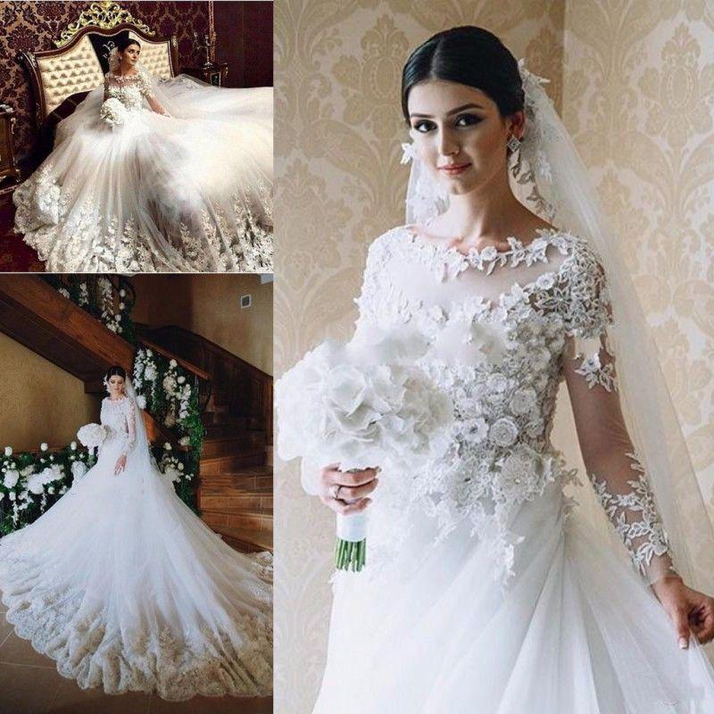 Discount Amazing 3d Floral Appliques Wedding Dresses Sheer Neck Long Sleeve Tulle Chapel Train Bridal Gowns Vestido De Noiva Arabic Wedding Dress New
