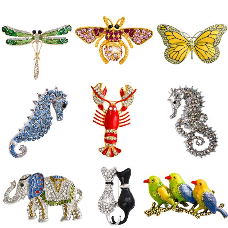 Vente en gros-Retro Insecte Libellule Papillon Broche Abeille Broche Femmes Cristal Animal Éléphant Chat Oiseaux Mer Cheval Broches Mujer Hommes Brosche