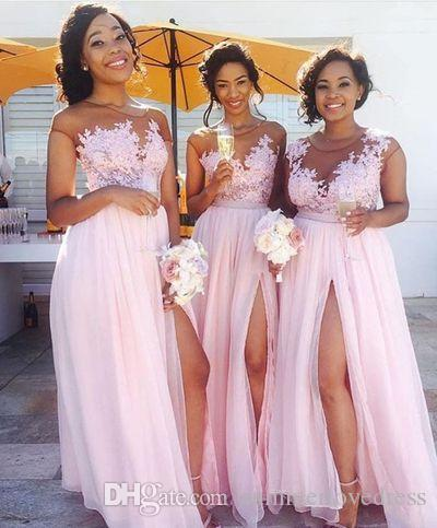 New Illusion Blush Pink Chiffon Long Bridesmaid Dresses Sheer Tulle Lace Applique Split Ruched Floor Length Wedding Party Evening Dresses White