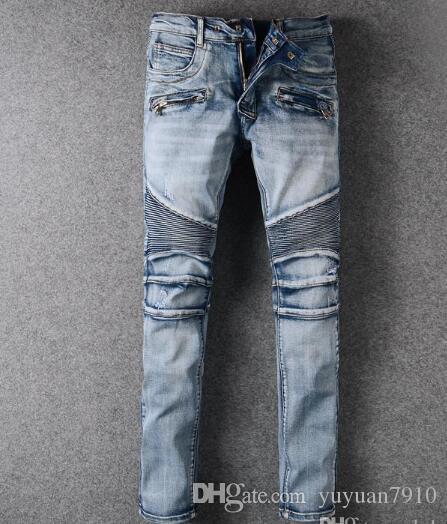 Europe Mens Classic Jeans Knee Drape Panel Moto Biker Jeans Long Trorsers Pants