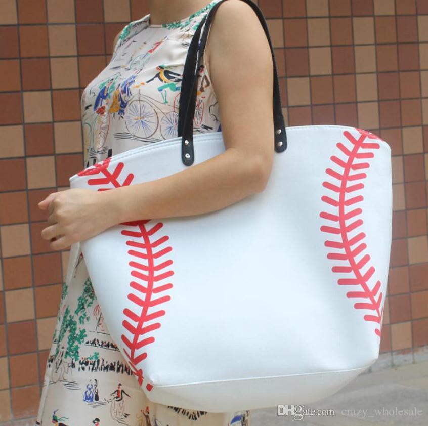 2017 Softball yellow baseball white stitching bags baseball women Cotton Canvas Sports Bags Baseball Softball Tote Bag Free Shipping