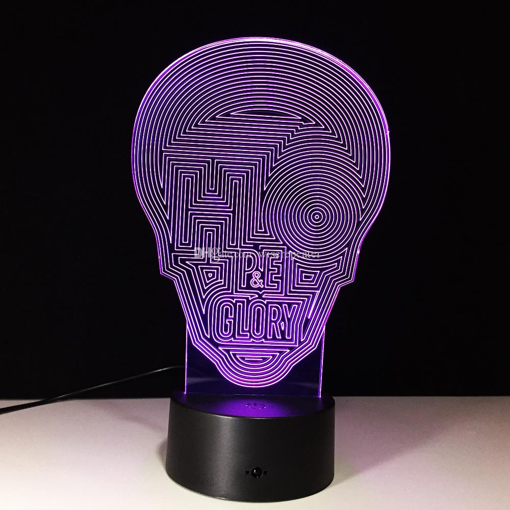 3D Maze Skull Illusion Lamp Night Light DC 5V USB Powered 5th Battery Wholesale Dropshipping Free Shipping