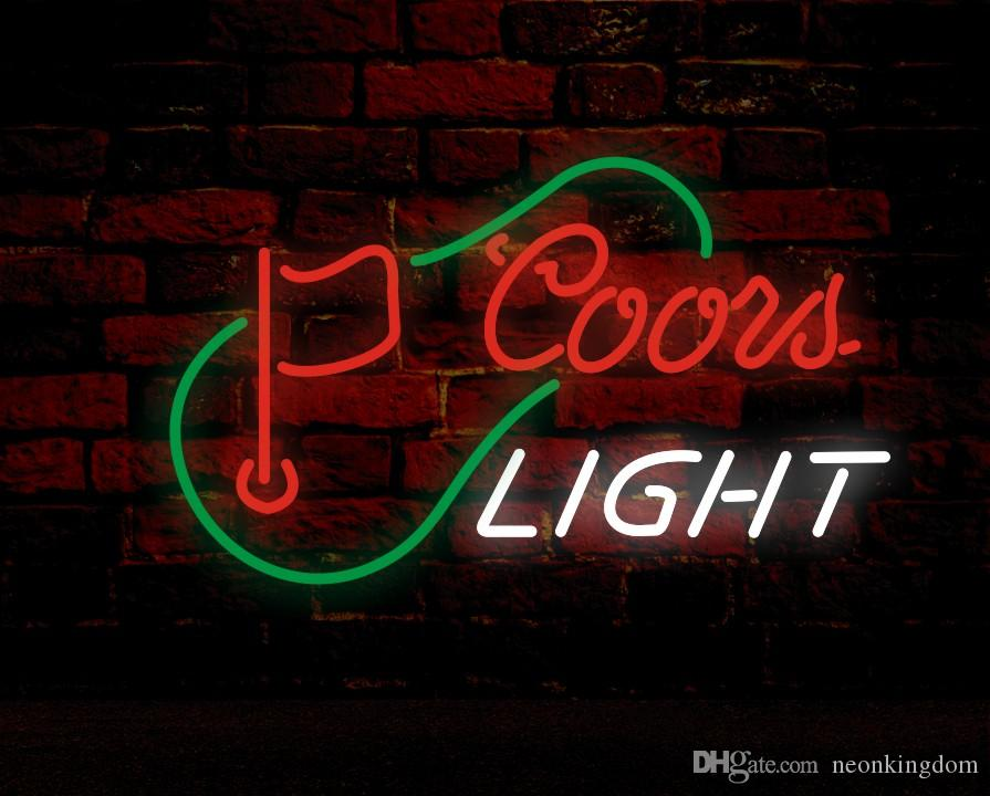 COORS LIGHT & FLAG Neon Sign Real Glass Tube Bar Store Business Advertising Home Decoration Art Gift Display Metal Frame Size 24''X20''