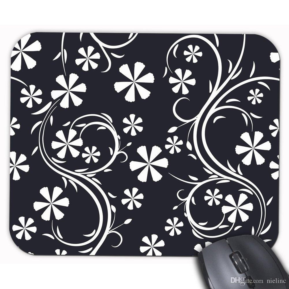 Floral Pattern Black and White Flower Printed Personality Rectangle Desktop Mouse Mat Customized Design Gaming Mouse Pad Laptop Office Mouse