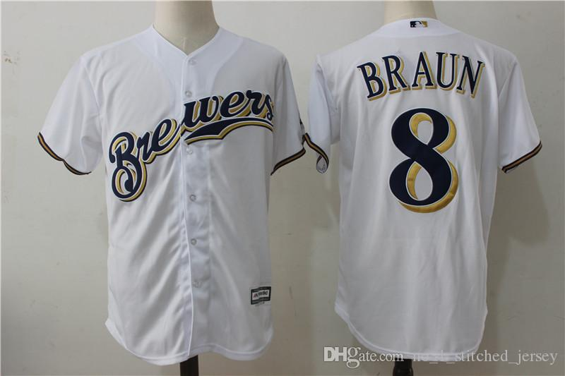 ... Mens 8 Ryan Braun 7 Eric Thames Baseball Jerseys Milwaukee Brewers  Embroidery Jersey Majestic White Home Mens Milwaukee Brewers Replica ... 9fd22647b