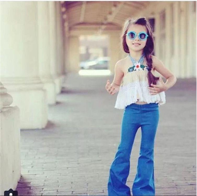 Compre 6 12 Anos De Moda Para Ninas Pantalones Vaqueros De Corte Solido Azul Breve Algodon Pantalones Largos Campana Bebe Fresco Sping Otono Con Cuernos Jeans Al Por Menor A 10 79