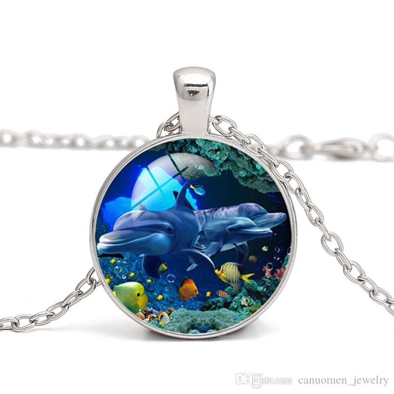 Graceful Dolphins Bottle Cap Necklace with Chain Handcrafted Kid/'s Jewelry