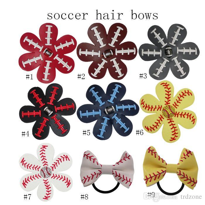 2017 Softball Flower mixed style Softball Flower Accessory Pony and hair clip,softball hair bows,softball hairbow,baseball hairbow