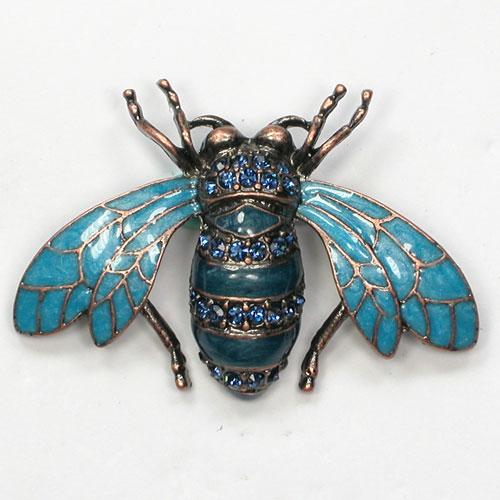 12 stks / partij Groothandel Crystal Rhinestone Emazing Broche Bee Pin Broches Mode Kostuum Sieraden Gift C709