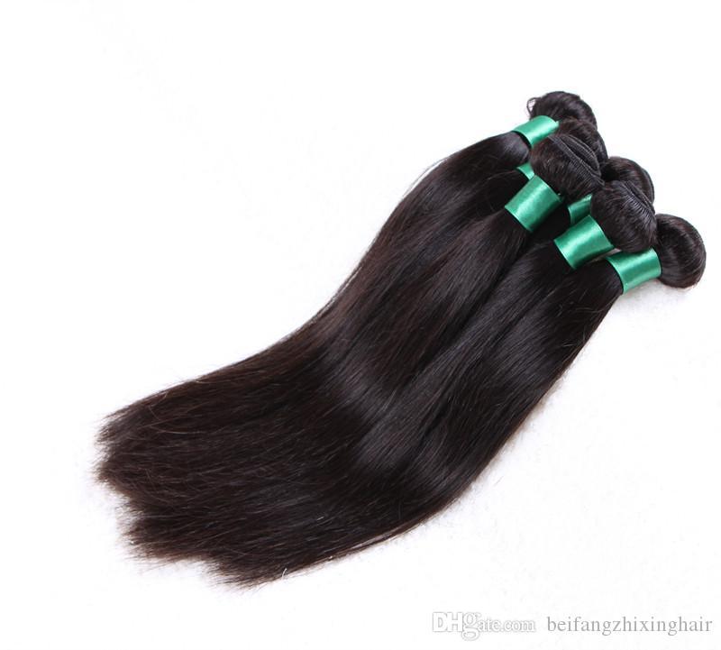Grade 8A - Faisceau de cheveux à ondes droites en soie à double trame 100% cheveux péruviens humains Couleur naturelle 100g / pc3pcs / lot, DHL gratuit