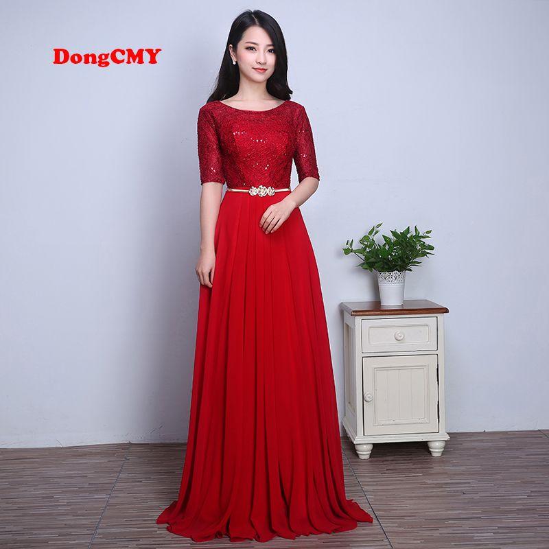 2018 moda pizzo nuziale Married rosso lungo design formale abiti longo In magazzino Abiti da damigella d'onore