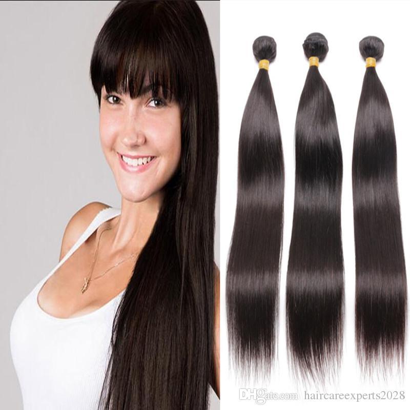 Indian virgin hair 100g/pcs 3 pcs/lot ,Unprocessed Indian Straight Virgin Hair 6A Indian Straight Human Hair Bundles DHL Free Shipping