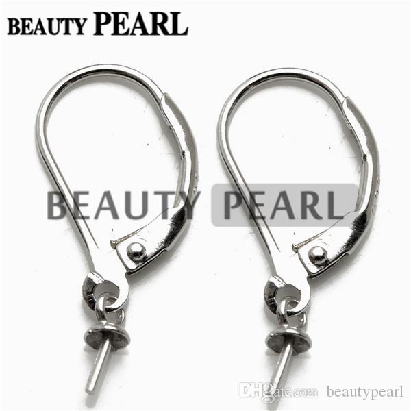 20 Pairs Earring Blanks French Hook 925 Sterling Silver Findings Lever Back Ear Wires with Bead Cap