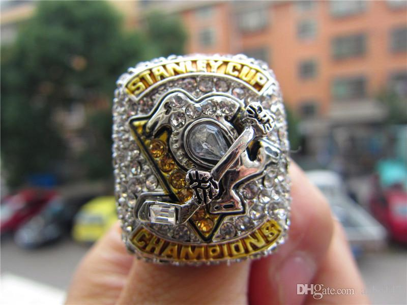 Myself Photo ! 2017 PITTSBURGH PENGUINS STANLEY CUP Hockey CHAMPIONSHIP RING solid Men Fan Gift Wholesale Drop Shipping