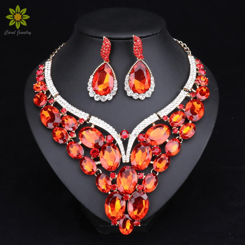 Indian Jewellery Indian Crystal Necklace Earrings Bridal Jewelry Sets for Brides Party Wedding Accessories Decoration