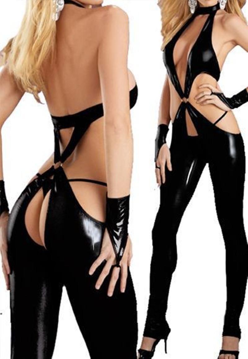 Wholesale- 2016 Women Latex PVC Erotic Leotard Costumes Wet Look Jumpsuit Black Catsuit Pole Dance Clothes Clubwear Bodysuit Game Uniforms