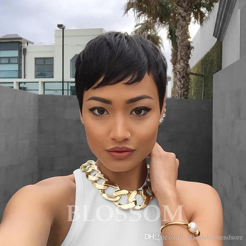 virgin cut hair glueless none full lace wig short lace front wig full lace human natural hair wig for black women