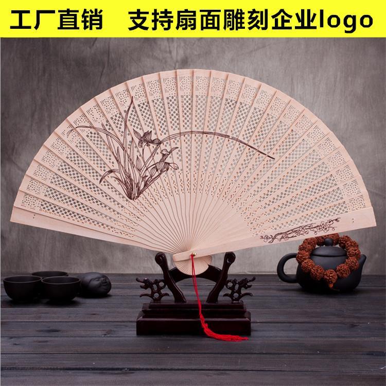 Fornecimento de atacado direto da fábrica de 9 polegada de madeira ventilador de dobramento Ke Chinês vento processo de madeira caixa de presente de fãs