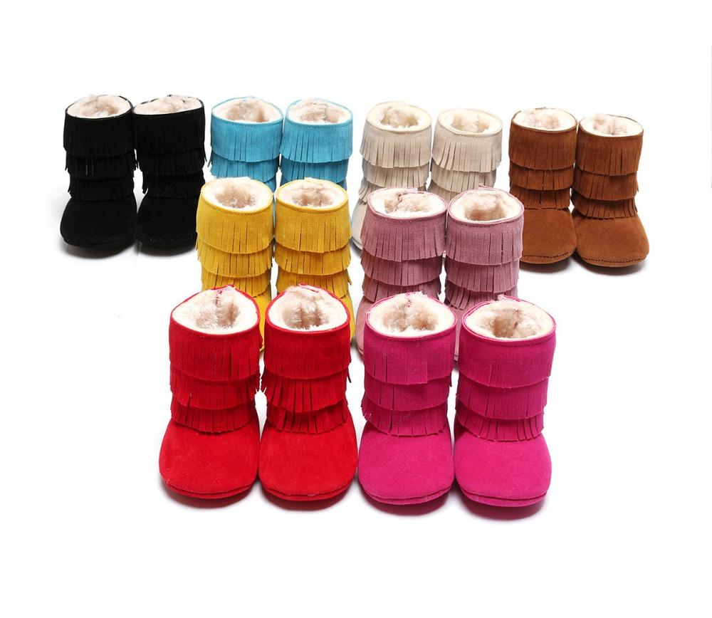 Wholesale- Fashion Fringe Newborn Baby Girls Kids Boys Infant First Walkers PU Suede Leather Shoes Children Moccasins Moccs Boots Booties
