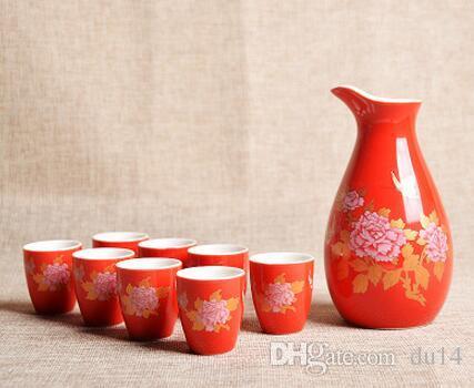 ceramic wine set ceramic Ceramic set glass glass cup liquor liquor pot small wine beautiful men gif