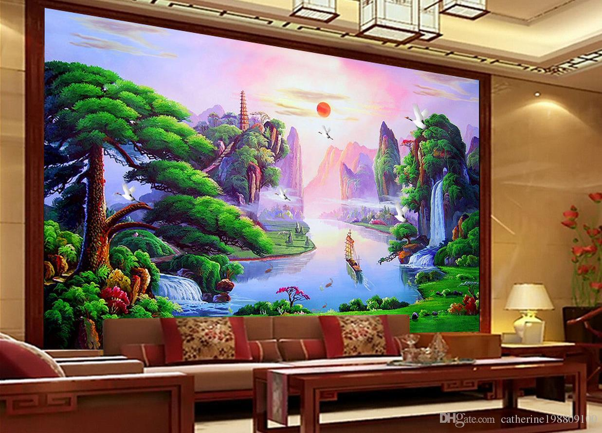 Home Decor Living Room Natural Art Living room Three-dimensional welcoming pine landscape painting video wall wall