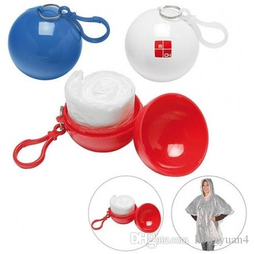 Spherical Raincoat Plastic Ball Key Chain Disposable Portable Raincoats Rain Covers Travel Tour Trip Rain Coat 60pcs