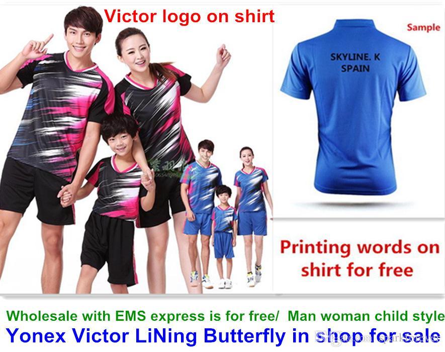 Venta al por mayor EMS gratis, impresión de texto gratis, nueva ropa de la camisa de bádminton tenis de mesa T camisa deportiva ropa 1044