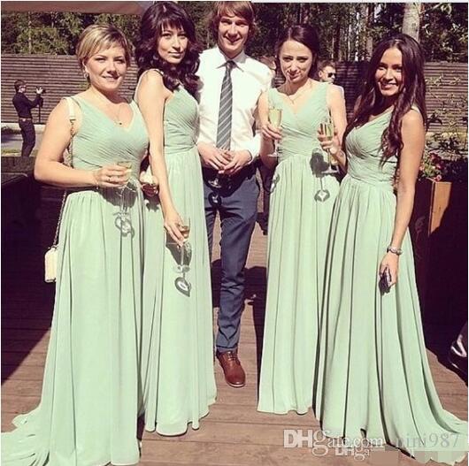 Ruffles Empire Strapless Country Boho Long Birdesmaid Dresses 2017 Cheap Sage Bohemian Beach Junior Bridesmaid Dress Cheap