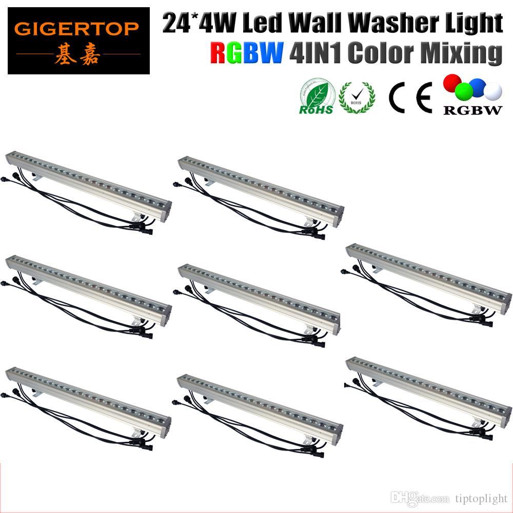 Högkvalitativ 8st / parti 24 x 4W Utomhus LED Väggbricka Ljus RGBW LED BAR Ljus DMX-läge, LED-scenljus Vattentät IP65 90V-240V
