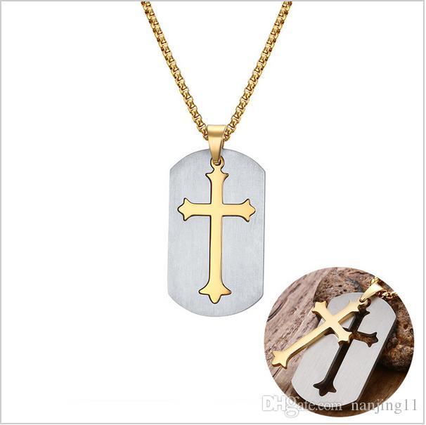 """Punk Abnehmbare Kreuz Halskette Frei 24 """"Kette Chirurgische Stahl Kreuz Anhänger Halskette Für Christian Jesus Lord Gebet Schmuck PN-624"""
