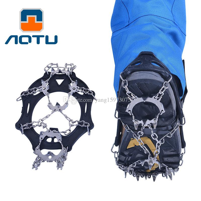 AOTU 19 Crampons Antiskid Shoe Covers Outdoor Climbing Tooth Silica Gel Nail Shoes Climbing Claws Ice Climbing on Foot Snow 222