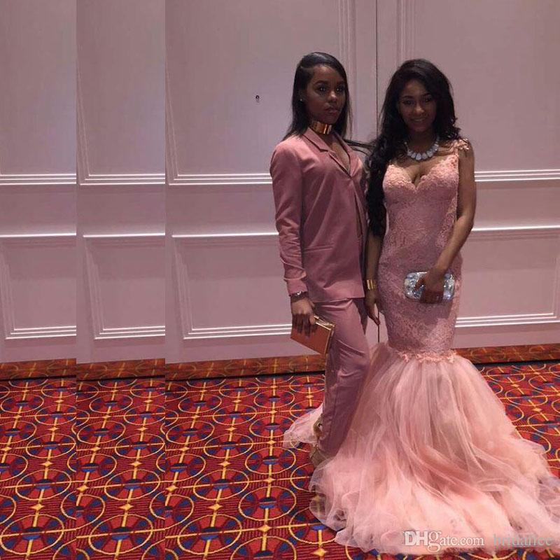Black Grils Prom Dresses Mermaid Pink Tulle Lace Long Evening Party Dress robe de soiree 2017 Celebrity Dress