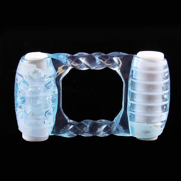 Potente anillo vibrante para el pene, vibrador doble de silicona azul con anillo para el pene, juguete sexual para hombre, productos sexuales para adultos 0701