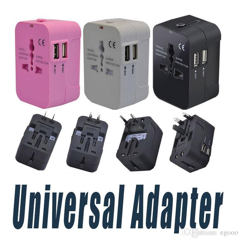 Все в одном Универсальный Международный штепсель двойной порт USB World Travel AC адаптер питания зарядное устройство с конвертера штепсельной вилки AU США Великобритании в ЕС