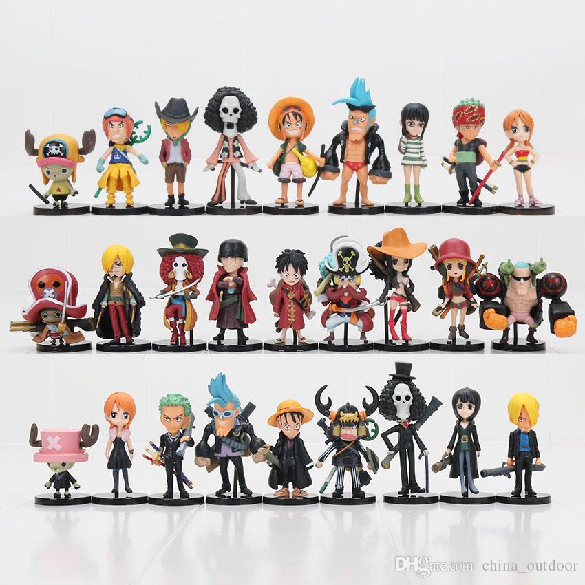 27pcs/set One Piece Action Figures Monkey D Luffy Roronoa Zoro Nami Usopp Sanji Tony Chopper Nico Franky Brook OP Full Toys