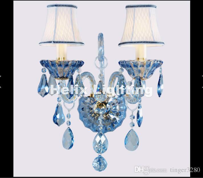Yeni Varış Modern Mavi K9 Kristal duvar Lambası lüks Yatak Odası Başucu Duvar Mum E14 K9 kristal Duvar Çörekler AC 100% Garantili