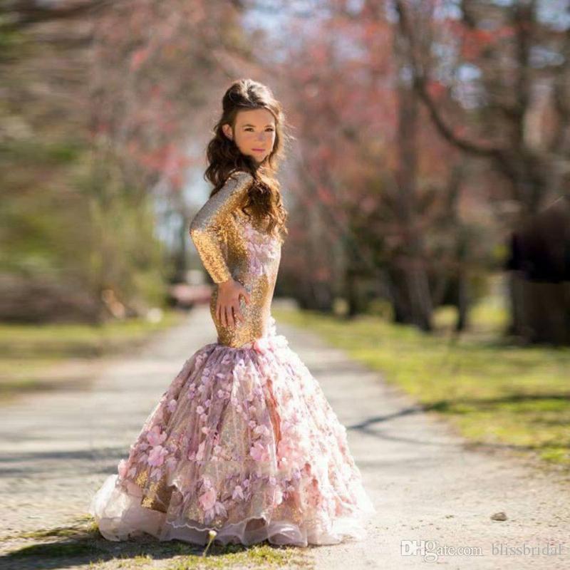 New Gold Shinny Flower Girl Hand Made Flower Long Sleeve Mermaid Dresses Sequins Applique Girl's Pageant Dresses