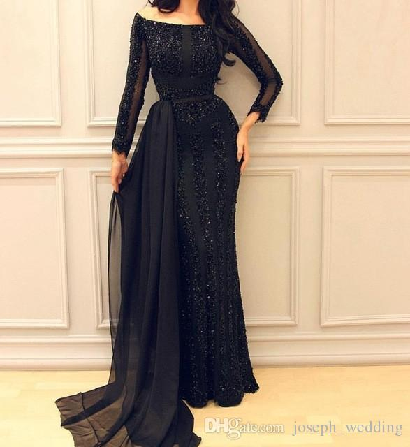 Stunning Beaded Black Long Mermaid Evening Dresses Boat Neck Long Sleeves Tulle Women Formal Evening Gowns Dress